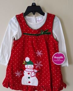 Nannette Kids 2pc Snowman Dress